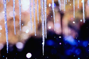Icicles and Falling Snow