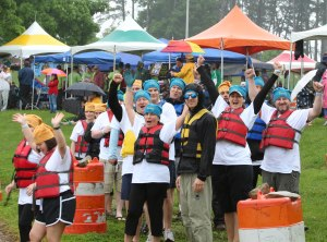Pediatric Paddlers from Children's Hospital are getting pumped just before they hit the water.