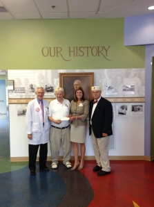 Pictured from left to right are Children's Hospital CEO, Dr. Alan Kohrt; Past Venerable Master of Scottish Rite, David Nelson, Jr.; Erlanger Chief Development Officer, Julie Taylor; and Venerable Master of Scottish Rite, Dr. Joel Bremer.